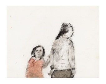 Mother Daughter art print illustration people woman child figurative