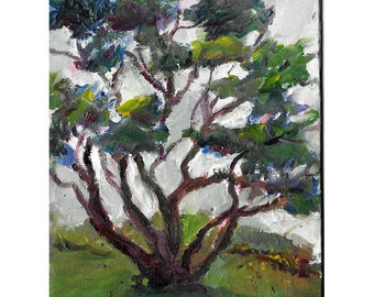 Original landscape oil painting 8x6 Gnarled tree eden yoga center