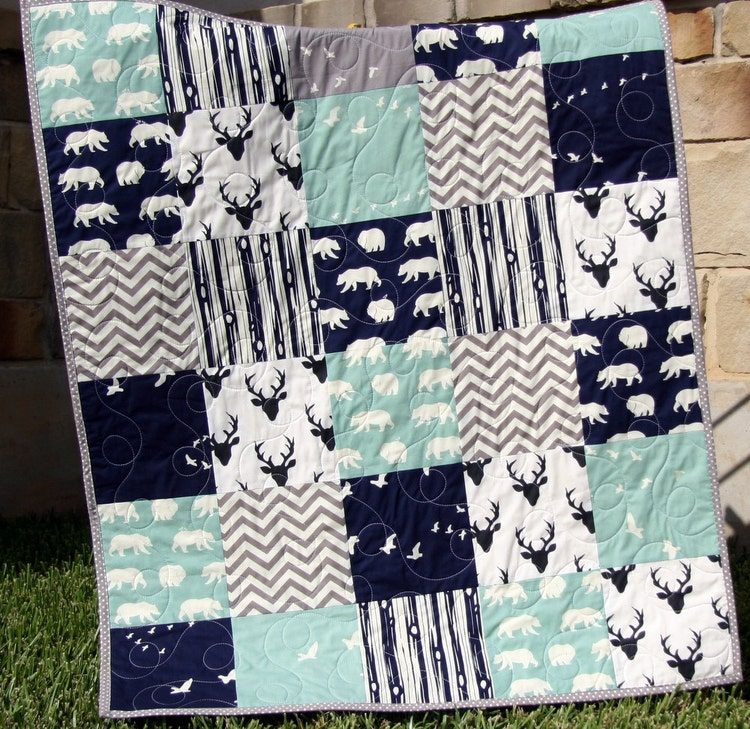 Baby Quilt Boy Navy Blue Grey Gray Elk Deer By