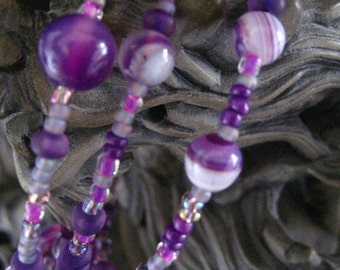 Beaded Memory Wire Bracelet Multi Strand Grape Purple Wrapped Bracelet