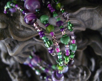 Beaded Memory Wire Bracelet Multi Strand Green and Purple Wrapped Bracelet