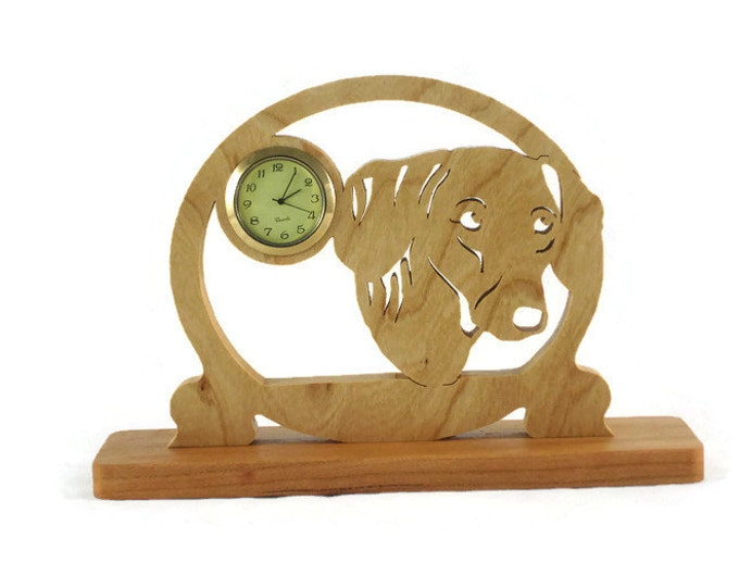 Dachshund Desk Shelf Clock Handmade Frome Cherry Wood By KevsKrafts