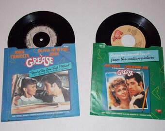 "2 x Grease 7"" singles - You're The One That I Want & Grease - Franki Valli / John Travolta / Olivia Newton John - Soundtrack - Vinyl Record"