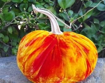 One Hand Dyed Silk Velvet Pumpkin with Real Pumpkin Stem - #268