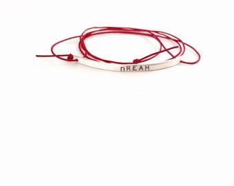 Dream Bracelet, Dream Stamped Bracelet, Red Bracelet, Hand Stamped Bracelet