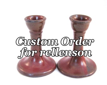 Custom Order for Rellenson: Candle holders - Set of Two - Handmade Pottery - Glazed in Rustic Rust Red