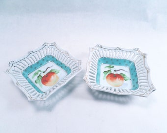 Reticulated Peach Dishes Set of 2 AIYO China Made in Occupied Japan Vintage 50s