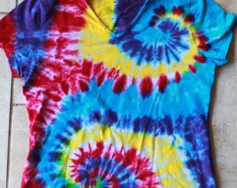 Tie dye Ladies tee upcycled