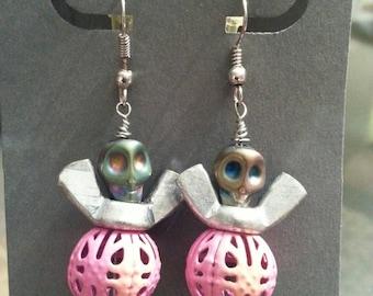 Techno Skull Fairy Earrings - Upcycled Hardware Jewelry