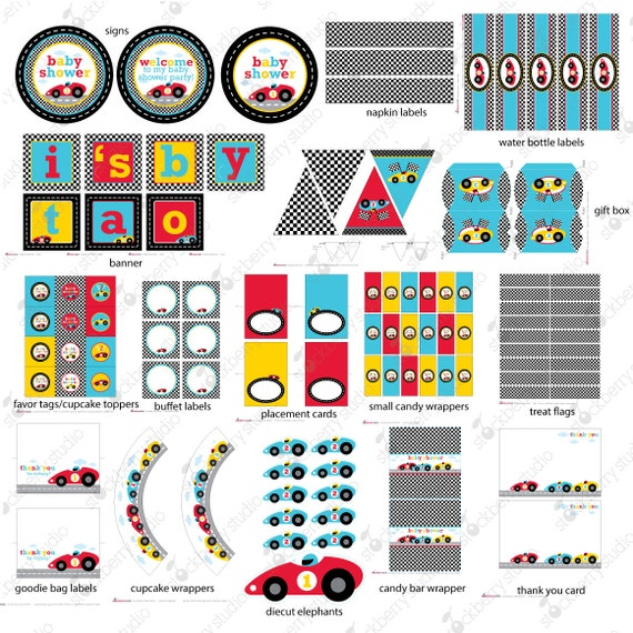 race car racing baby shower decorations by stockberrystudio