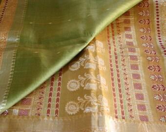 Geometric Flowers - Vintage Silk & Zari Sari (5 m / 6 yds)
