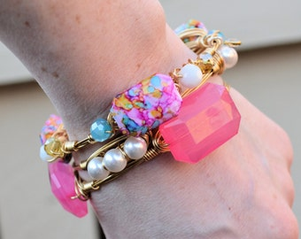 Pink Picasso Mosaic Bangle Bracelet SET- spring jewelry, stocking stuffer, pink jewelry, gift idea, birthday present, graduation, prom