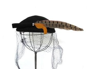 Vintage Black Glenover Wool Hat with Pheasant Feather Veil Rhinestones Fall Fascinator Henry Pollak New York