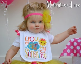 You are my sunshine Birthday Bib - 1st birthday - Birthday bib - Smash cake