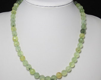 Prehnite 10mm faceted and 925 Silver 19 inch Necklace