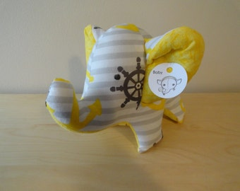 Baby Safe Large Stuffed Elephant- Grey and Yellow