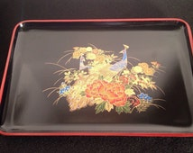 Set of Three Vintage Japanese Black Lacquer Papier Mache Trays Peacock Pattern Red, Gold, Blue