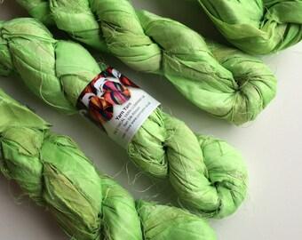 Sari silk ribbon, craft ribbon, knitting ribbon, ribbon yarn, ethical yarn, textile arts, crochet. Mint Green. 100g