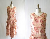 GREAT GATSBY Vintage 1920's Dress | Romantic 20's Pink Floral Teared dress | Size Small