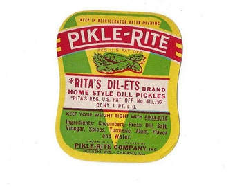 Vintage Pikle-Rite Rita's Dil-ets Dill Pickles Label, C1950s