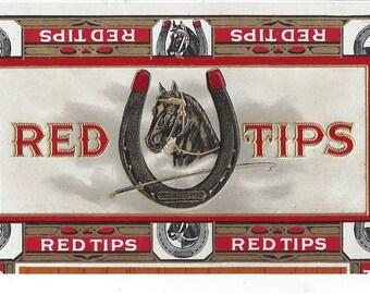 Red Tips Vintage Cigar Box End Label, C1930s