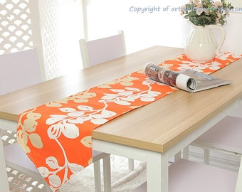 Table Runner Tree Flower Leaves Dinner,Party,Wedding,Birthday Gift-Eco Friendly Custom Size,tablecloth,pillow case,cushion napkins available