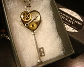 Steampunk Style Clockwork Heart  Key Pendant Necklace in Antique Silver (2175)