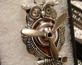 Owl with Movable Propeller Steampunk Style Necklace (1953)