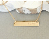 Valentines Sale / Gold Name Bar Necklace, Dainty Beaded Chain, Personalized Bar Necklace, Silver or Gold Nameplate Necklace, Gift For Her, I