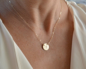 Gold Cross Disc Necklace, Religious Necklace, Cross Necklace, Dainty Disc Necklace, Layered Necklace, 14k Gold , Silver , Custom Design Disc