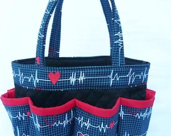 Nurse EKG Print // Craft Organizer // Makeup Organizer // Caddy // Teacher Tote // Nurse Tote