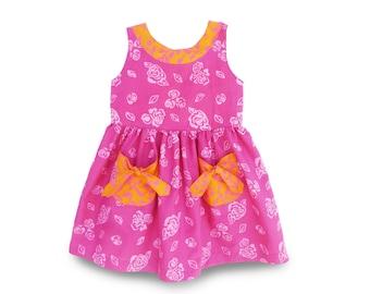 Girls Pocket Dress size 2, Toddler Dress Pink, Gift Dress, Rose Pink Girls Dress, Pink Pocket Dress