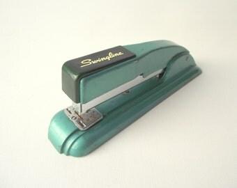 Vintage Swingline Stapler / Swingline 27 Stapler in Teal Green / 1950's Turquoise Stapler / Vintage Office
