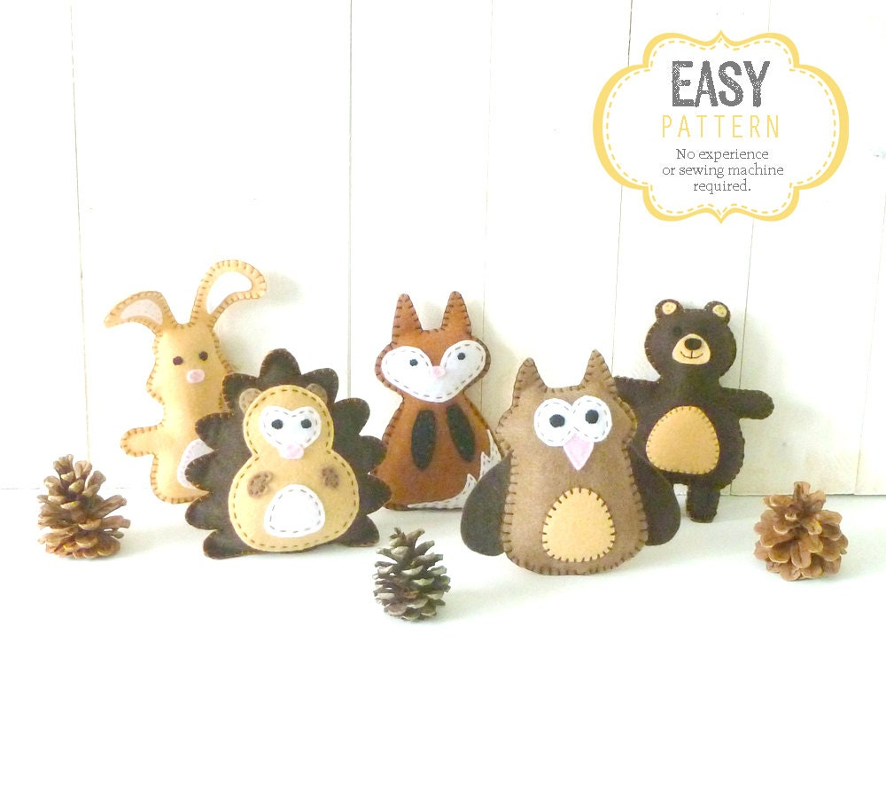 sewing templates for stuffed animals - woodland animal sewing patterns mini woodland felties felt