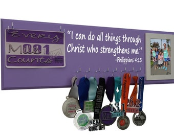 Running medal and race bibs - I can do all things through Christ who strengthens me. -Philippians 4:13