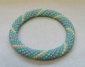 Pastel Spiral Bead Crochet Bangle - Ready to Ship