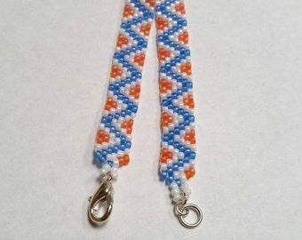 Blue and Orange Zigzag Peyote Bracelet - Ready to Ship