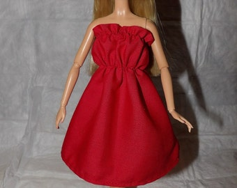 Ruffle top red sun dress for Fashion Dolls - ed886