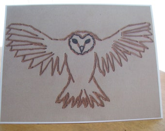 Owl Embroidery Greeting Card