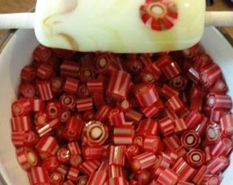 Murrini Chips, Element, Lampwork Supplies, COE 104, Red Murrini, Art Glass, Emerald City Glass Murrini ,  Flamework supplies, Murrini Slices
