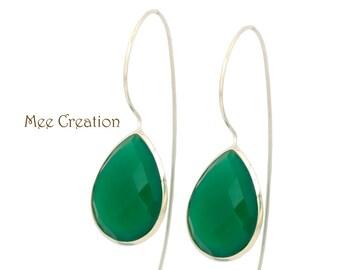 EE2040003) Green Onyx Earrings, Green Earrings, Emerald Green Drop Earrings, Bohemian Earrings, Dangle Earrings, Wedding Earrings,