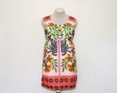 vintage 1960's festival mini dress   small petite sleeveless dress