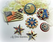Americana Patriotic July 4 Paper Embellishments and Stars for Scrapbook Layouts Cards Tags Mini Albums and Papercrafting