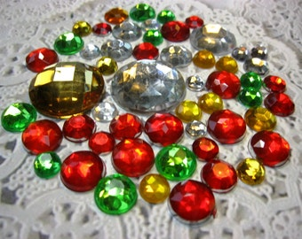 50 Flat Back Mixed Gold Green Silver Red Christmas Rhinestones Acrylic Gem for Scrapbooking Cards Mini Albums and Papercrafts Jewelry DIY