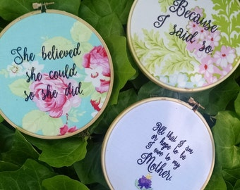 Mother's Day Gift / 6 inch hoop embroidery art