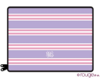 """CREW personalized laptop sleeve 13"""" or 15"""" - with monogram - NEW elastic tabs give you the option to keep the sleeve on while you work"""