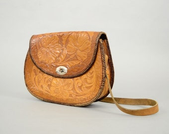 60's Mexican TOOLED LEATHER Shoulder Bag