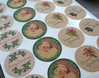 Christmas stickers, sheet of 20.  Assorted holiday stickers, labels.  Santa, holly, bells.  Seasons Greetings.  Kraft brown or Matte White.