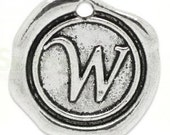 """Add On Initial """"W"""" Charm, personalized letter charm, monogram, Personalized Keychain, Personalized Necklace, antiqued silver plated charm"""