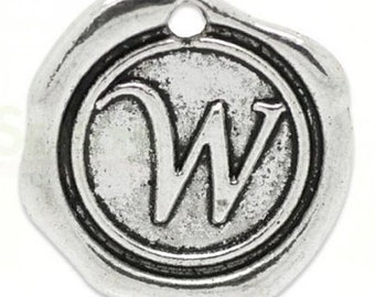 "Add On Initial ""W"" Charm, personalized letter charm, monogram, Personalized Keychain, Personalized Necklace, antiqued silver plated charm"